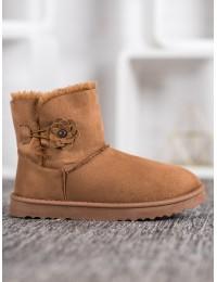 Zomšiniai lengvi šilti batai su gėlyte - Z113C