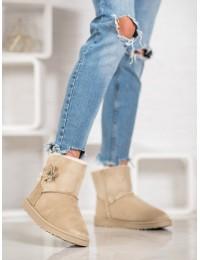 Zomšiniai lengvi šilti batai su gėlyte - Z113BE