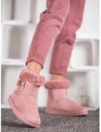 Šilti zomšiniai batai papuošti perlais - Z117P