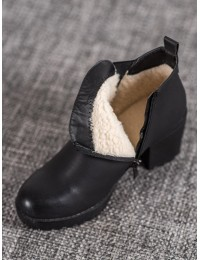 Juodi šilti patogūs klasikiniai batai su avikailiu - S1827-1B