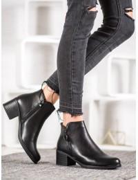 Juodi klasikiniai odiniai batai žiemai - A8010B