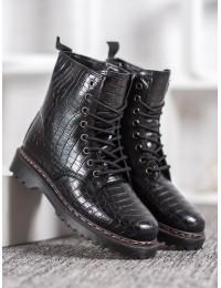 Madingi juodi krokodilo odos rašto batai - DJH01B-B