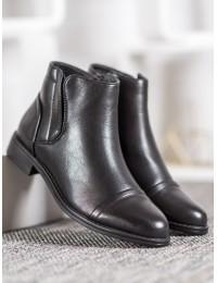 Juodi klasikiniai patogūs eko odos batai - A8057B