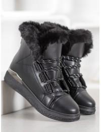 Madingi juodi odiniai batai su pašiltinimu - BK921A-B