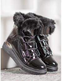Madingi juodi lakuotos odos batai su pašiltinimu - BK921B