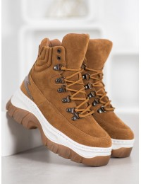 Madingi rudi suvarstomi batai su masyve platforma - HE104C