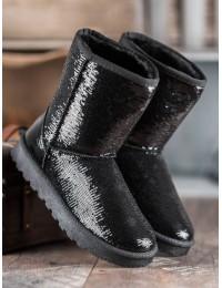 Juodi žėrintys madingi žieminiai batai - BL175B
