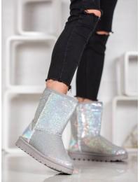 Sidabro spalvos žėrintys madingi žieminiai batai - BL175S