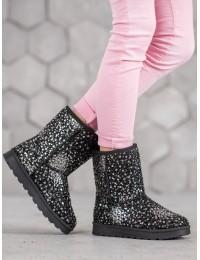 Juodi žėrintys madingi žieminiai batai - BL177S