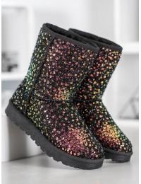 Juodi žėrintys madingi žieminiai batai - BL177GO