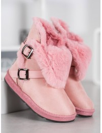 Madingi rožinės spalvos batai su kailiu - X01L.P