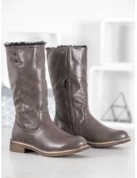 Pilki odiniai batai su kailiu - 1089-PA-G