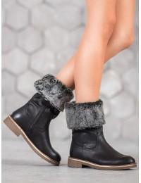 Juodi odiniai batai su kailiu - 1089-PA-B