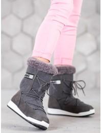 Pilkos spalvos šilti žieminiai batai - LT978G