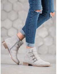Pilki zomšiniai batai su stilingomis sagtelėmis - BT302-03G
