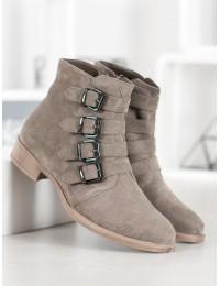 Rusvi zomšiniai batai su stilingomis sagtelėmis - BT302-19OLI