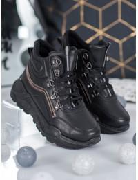 Madingi juodi batai su platforma - B0012B