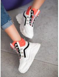 Išskirtiniai madingi balti batai su masyvia platforma - RB-3348W/OR