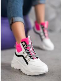 Išskirtiniai madingi balti batai su masyvia platforma - RB-3348W/F