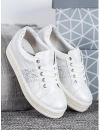 Stilingi baltos spalvos batai papuošti cirkonio kristalais - HQ996W