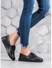 Stilingi natūralios lygios odos juodos spalvos bateliai - DP1321/20B