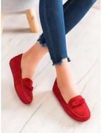 Raudonos spalvos zomšiniai elegantiški mokasinai - 9F150R