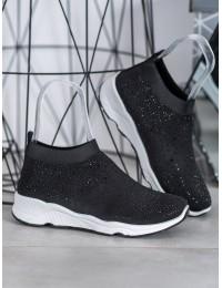 Juodi stilingi patogūs batai su kristalais - TF-19B
