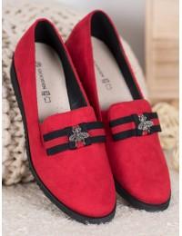 Stilingi prabangūs raudonos spalvos zomšiniai bateliai - FL325R