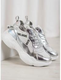 Sidabro spalvos madingi batai su natūralia oda - FT-61W/S