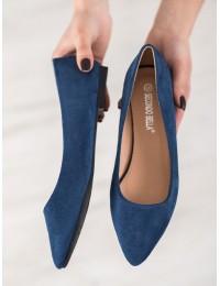 Madingos mėlynos spalvos zomšinės balerinos - P3T1168-6BL