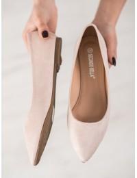 Madingos smėlio spalvos zomšinės balerinos - P3T1168-6AP