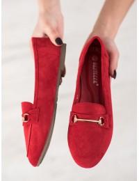 Stilingi raudonos spalvos zomšiniai bateliai - 100-978R