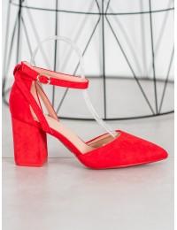 Stilingi zomšiniai raudonos spalvos aukštakulniai - LE075R