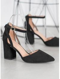 Stilingi zomšiniai juodos spalvos aukštakulniai - LE075B