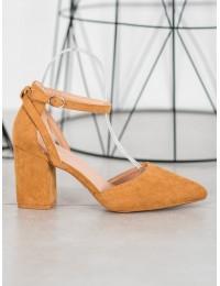 Stilingi zomšiniai camel spalvos aukštakulniai - LE075C
