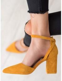 Stilingi zomšiniai geltonos spalvos aukštakulniai - LE075Y