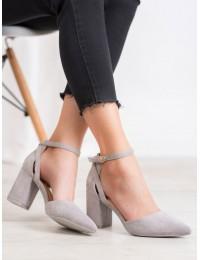Stilingi zomšiniai pilkos spalvos aukštakulniai - LE075G