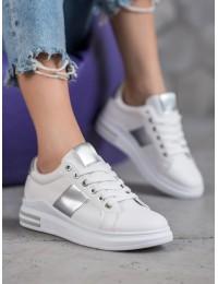 Baltos spalvos laisvalaikio stiliaus bateliai - AB696W/S
