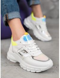 Madingi baltos spalvos batai su platforma - BO-552Y