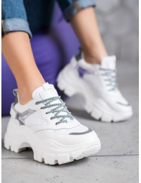 Balti aukštos kokybės išskirtiniai batai su platforma - Y596W