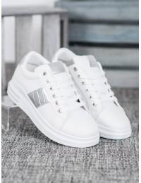 Balti laisvalaikio bateliai su sidabrinėmis detalėmis - AB5746W/S