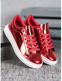 Raudoni žvilgūs batai su platforma - BN8163R