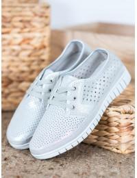 Švelnaus sidabrinio atspalvio aukštos kokybės natūralios odos batai - K2019701PLA