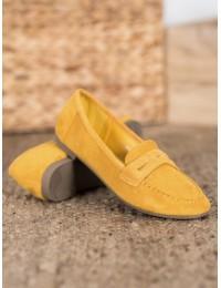 Geltonos spalvos zomšiniai mokasinai - 100-980Y
