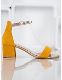 Stilingos zomšinės basutės su subtiliu aukso spalvos dirželiu - M307Y