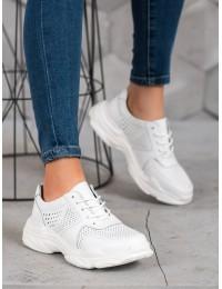 Sportinio stiliaus balti natūralios odos batai - DP1426/20W