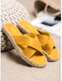 Stilingos zomšinės geltonos spalvos šlepetės - 708Y