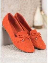 Elegantiški sodrios oranžinės spalvos zomšiniai bateliai - L11-132OR