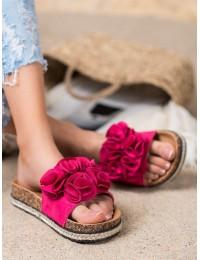 Romantiško stiliaus zomšinės šlepetės su gėlėmis - CHE20-31511F