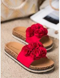 Romantiško stiliaus zomšinės šlepetės su gėlėmis - CHE20-31511R
